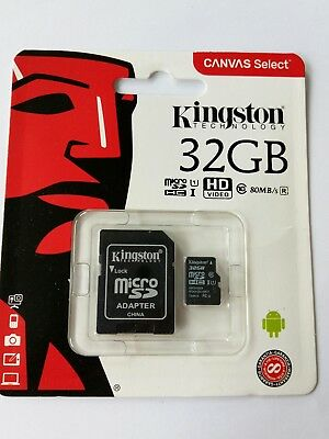 Kingston 80MB/s 32 GB micro SD SDHC UHS-1 class 10 memory card with adapter