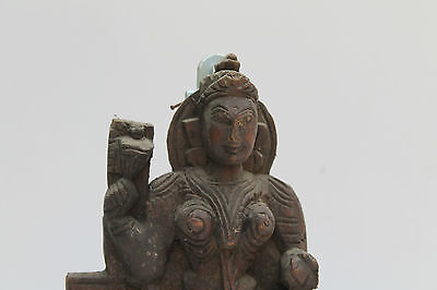 Vintage Old Wooden Hand Carved Goddess Laxmi Wall Hanging Figurine Statue NH2100