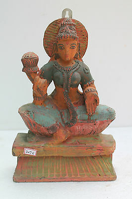 Vintage Old Wooden Hand Carved Goddess Laxmi Wall Hanging Figurine Statue NH2076
