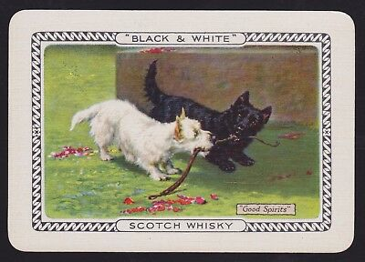 1 Single VINTAGE Playing/Swap Card OLD WIDE BLACK & WHITE WHISKY DOGS AT PLAY
