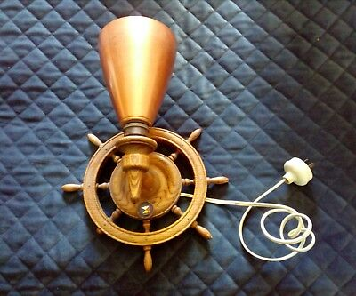 Vintage Ships Wheel With Anodised  Light Shade And Emamel SS Acadia Badge