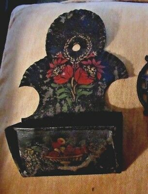 Early > Tin Wall hanging Match holder HAND PAINTED TOLEWARE w/FLUTED BORDER