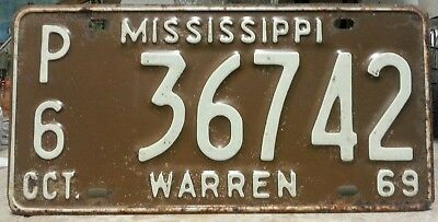 1969 Mississippi Warren county Public/Police license plate tag NO RESERVE!!!!