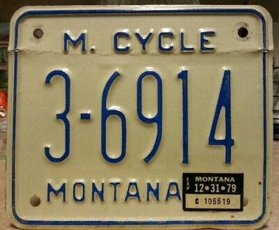 1979 Montana motorcycle license plate tag starts @ $0.01!!!!!!
