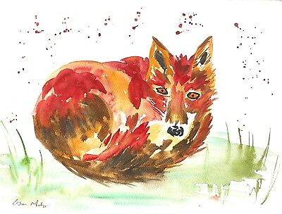 "Fox Original watercolour painting Size 12"" x 16""  Casimira Mostyn"