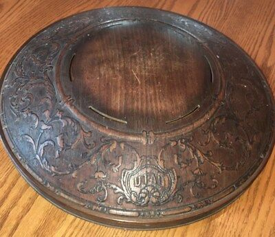 """Antique Round Wood Carved Picture  Frame UTAH Very Unusual 16"""" Shield"""