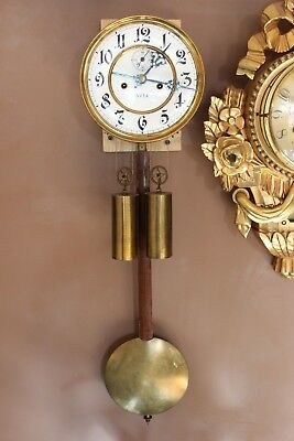 Complete Two weight Vienna wall clock movement at 1880
