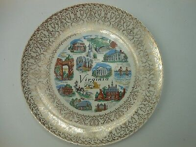 Vintage VIRGINIA State Plate Gold Trim Collector 10 Inch Plate
