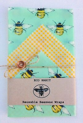 "Lunch Pk Of 3 ""Eco Habit"" Beeswax Food Wraps Medium Size,Zero Waste"
