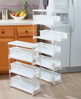 Slim Storage Rack 3 or 5 Tier Sliding Drawers Space Saving Kitchen Bath Laundry