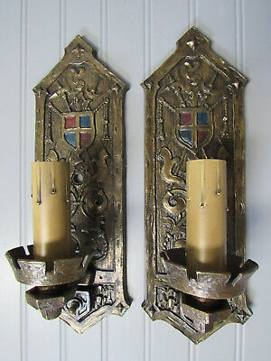 Vintage Antique Cast Bronze Pair Wall Sconces Gothic Mission Craftsman Castle