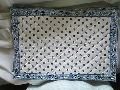 Valdrome Blue and White Place Mats Made in France Set of 4
