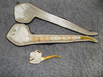 """Vintage Antique Pair of MEERSCHAUM PIPE Lion's Head in Case 18"""" & 7"""" Lot Pipes"""
