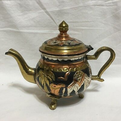 RARE,Brass ,Multi-color,various metals, Coffee / TEAPOT,Tunisia,SILVERING   !!