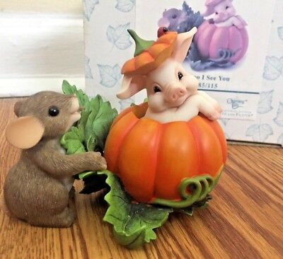 """CHARMING TAILS -by Fitz and Floyd Halloween """"Pig-A-Boo I See You EXCELLENT COND."""