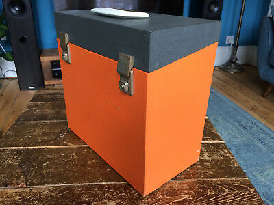 "Retro 60s Vinyl 12"" LP Record Storage Carry Case Orange/Grey Box & White Handle"