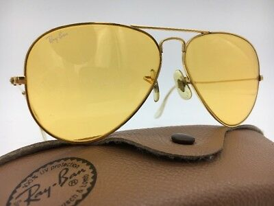 Vintage B&L Ray-Ban All-Weather Ambermatic Aviator Sunglasses Bausch Lomb