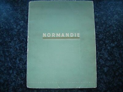 "Normandie The Famous ""green Book"" Oversized Deluxe Art Deco Brochure1937French L"