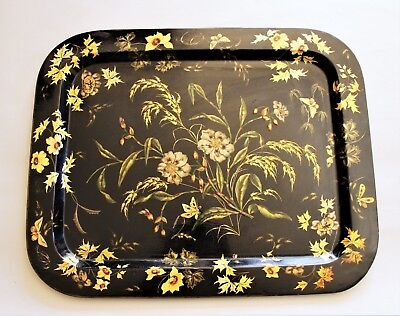 Beautiful Victorian Hand Painted Papier Mache Tray