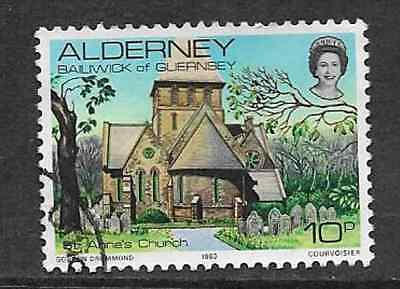 ALDERNEY - USED 10p DEFINITIVE STAMP - ISLAND SCENES - ST ANNE'S CHURCH - 1983