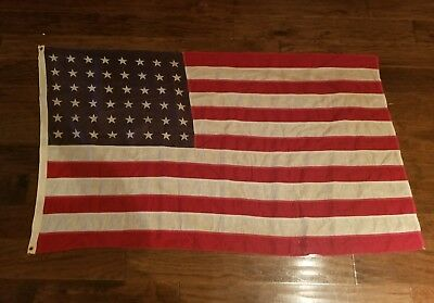WWII 48 Star Flag 4.5 Ft by almost 3 feet Great Shape No holes! Sewn
