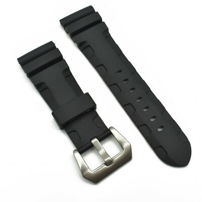 24mm/26mm Replacement Rubber Watch Strap Band Black With Buckle For PAM Watch