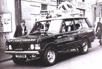 Black & White Photograph of an early H.M. Coastguard Range Rover Classic