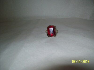 vintage brass cocktail ring RUBY glass emerald cut silver tone adjusts ornate