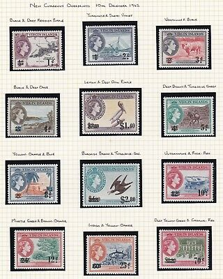 Commonwealth.  British Virgin Islands TWO PAGES QE II 1962-64 issues. Mint.
