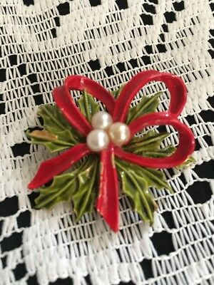 """Vintage Christmas Pin Brooch Holly With Pearls Red Ribbon """"art"""" Copyright Design"""