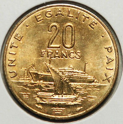 Djibouti 20 Francs 1982 (Key Date, If Not Counting 1997) Ch.unc-Bu!