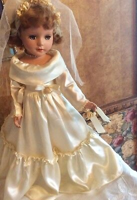 "Vintage 17"" 1950's Unmarked Madame Alexander Type All Original Bride Doll In Exc"