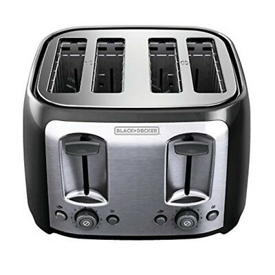 BLACK+DECKER Toaster 4 Slice Oval Black W/ Stainless Steel Accents Wide Slot