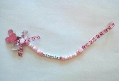 Personalised Baby Minnie Mouse Beautiful Dummy Clip Perfect Baby Gift