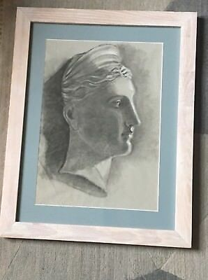 Original Fine Art Drawing Antique Study , 19th Century French