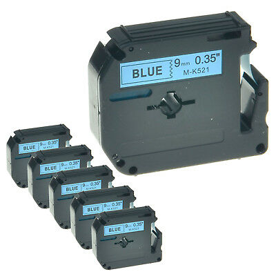 6PK MK521 M521 M-K521 Black on Blue Lable Tape 9mm For Brother P-touch 70BMH 110