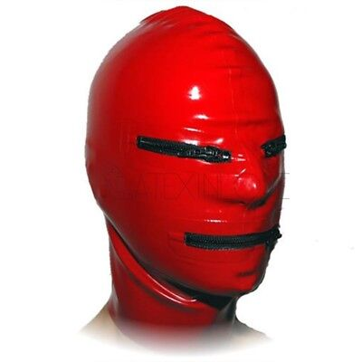 Latex Mask Rubber Unisex Mask Hood Use Zipper Close Cosplay Clubwear Gummi 0.4mm