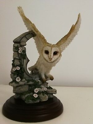 Country Artists  Bird Figurine Barn Owl With Morning Glory -David Levy