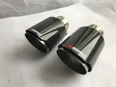 """1 X IN 2.5"""" 63MM OUT: 3.5"""" 89MM Akrapovic Glossy Carbon Fiber Pipe Exhaust Tip"""