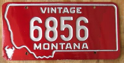 MONTANA Historic VINTAGE Aluminum on RED - DEBOSSED license plate  1979  6856