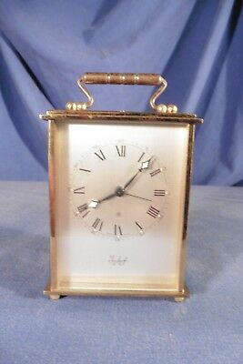 Vintage Swiss Imhof 8 days alarm carriage clock - solid brass - working