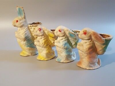 Antique / Vintage Paper Mache Egg Carton Easter Bunny Rabbit 1 Large, 3 Small