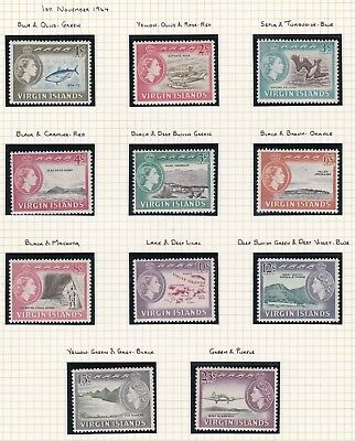 Commonwealth. British Virgin Islands  EIGHT PAGES QE II 1962-69 issues. Mint NH