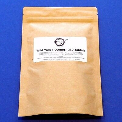 Wild Yam 1000mg   30/90/360 Tablets   High Strength Extract   IBS PMS MENOPAUSE