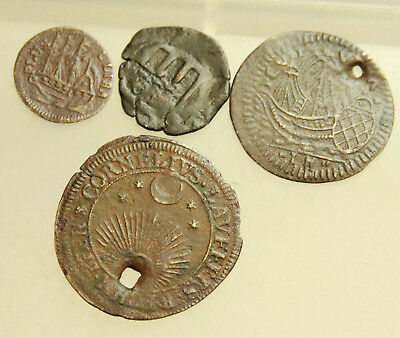 Lot of 4x Medieval Bronze Coins Ship D =14-23mm