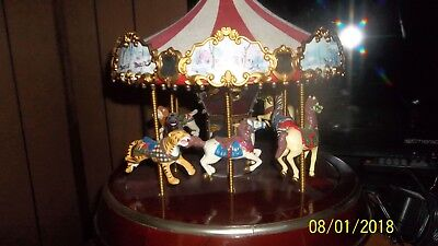 Large Mr.Christmas Musical  Carousel with Animals