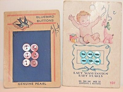 Vintage 1940s Pearl Baby Buttons, 2 Cards, 6 pink, 6 blue