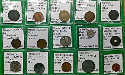Lot of 15 Different Old World Foreign Coins 1933-76 all in 2X2 with ID Silver