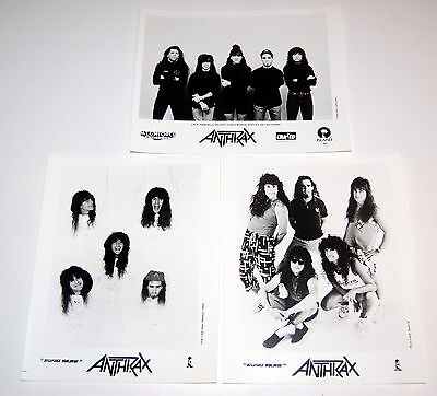 ANTHRAX 3pc Megaforce Press Photo Lot 1980's 1991 Thrash Scott Ian Belladonna