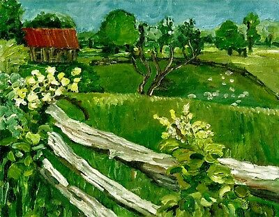 """Country Landscape Acrylic Painting Print,Pastoral Bucolic,""""Sheep"""",Wall Art"""